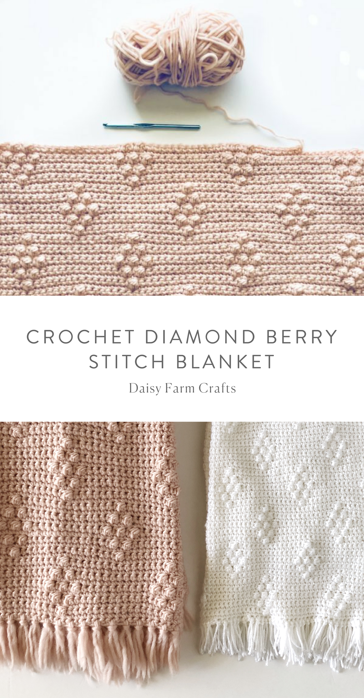 Free Pattern - Crochet Diamond Berry Stitch Blanket #crochet | Corte ...