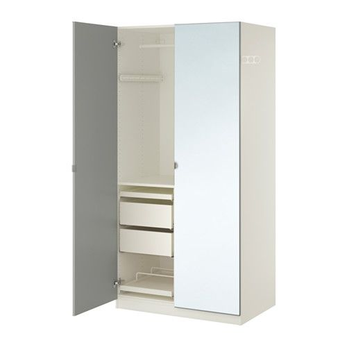 Pax Wardrobe White Vikedal Mirror Glass 100x60x201 Cm