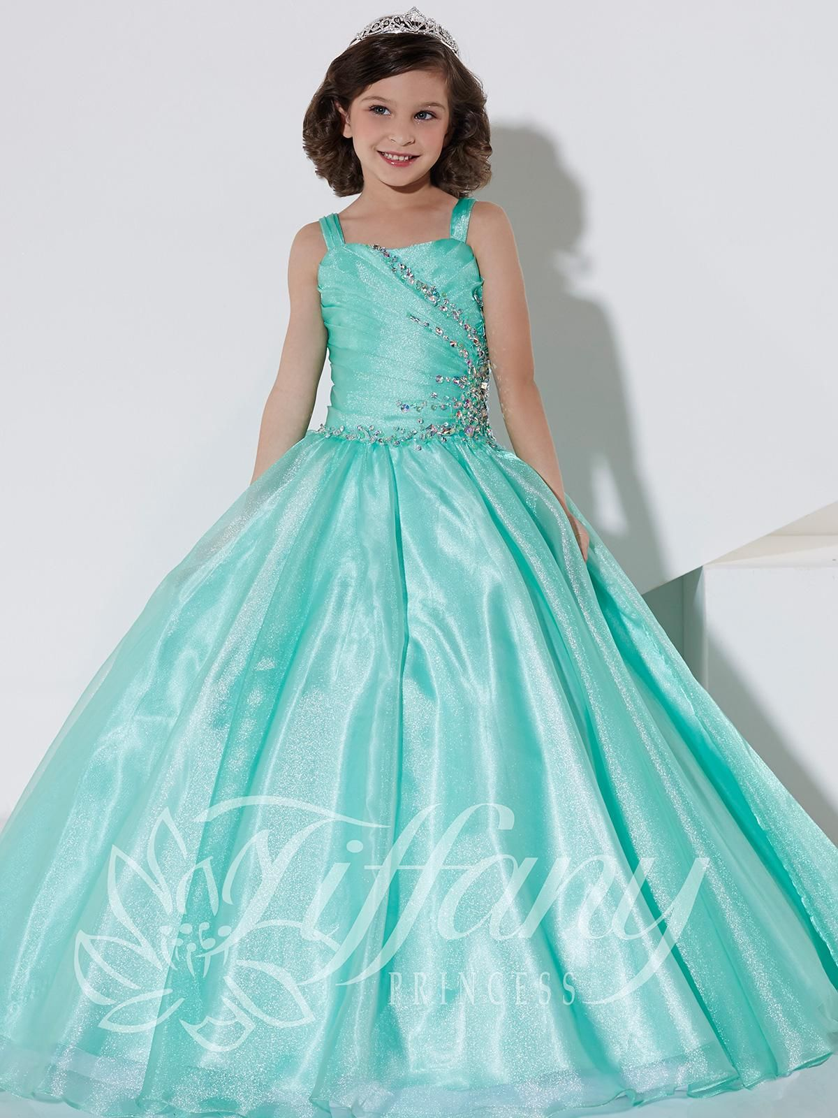 Cheap Cheap One Shoulder Satin Sequined Crystal Organza Floor Length ...