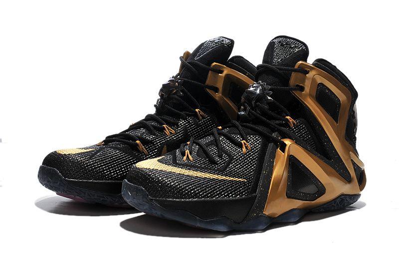 7ea27ae44735e Nike LeBron 12 Elite Black Gold Nike Shoes For Sale
