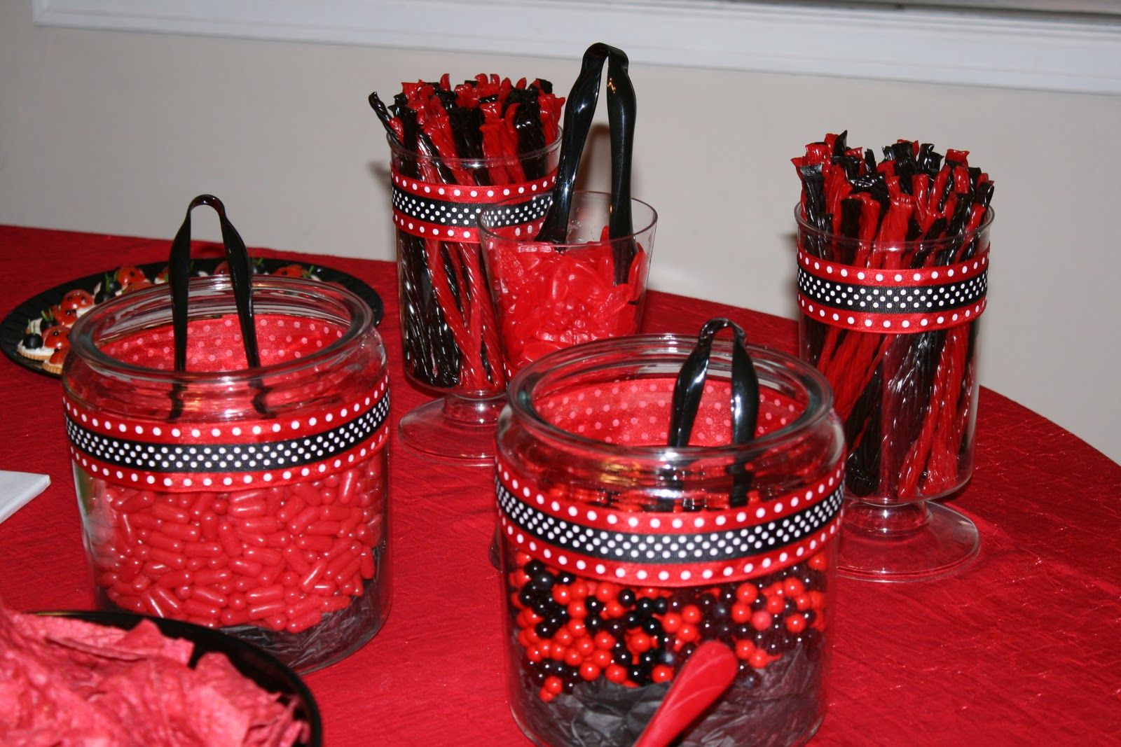 Candy bar party supplies red and black
