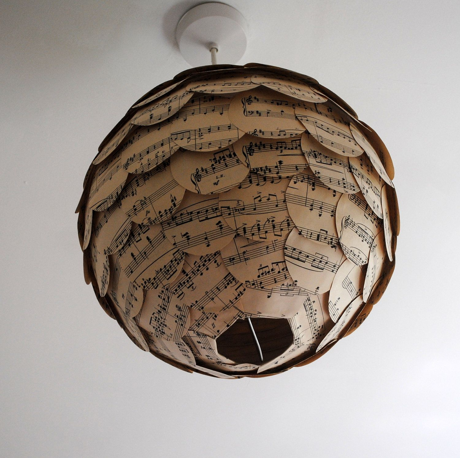 Lampshade Vintage Music Paper Globe Light Home Sweet Home