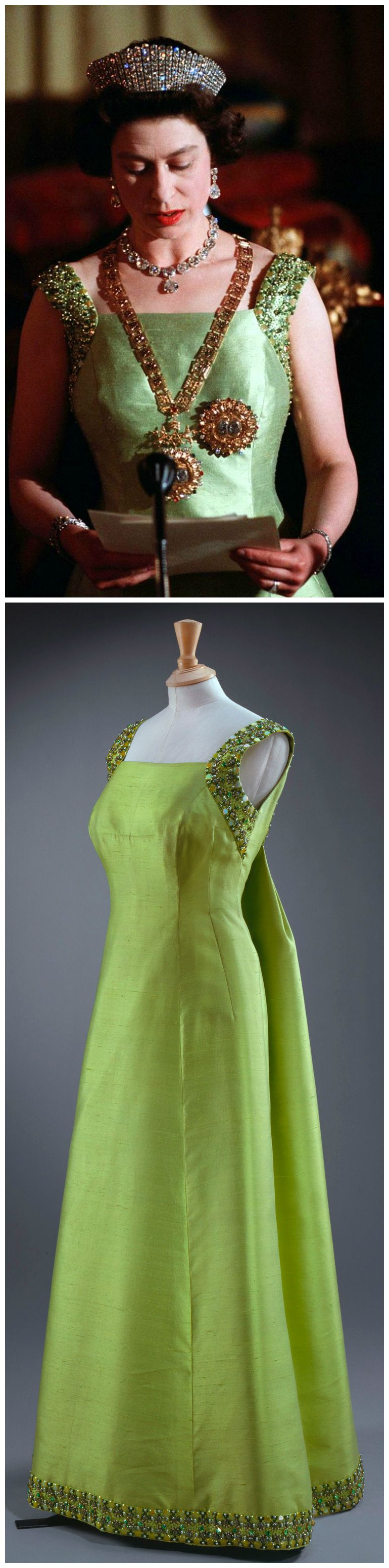 Queen elizabeth green dress  Evening gown by Sir Norman Hartnell  Silk embroidery and