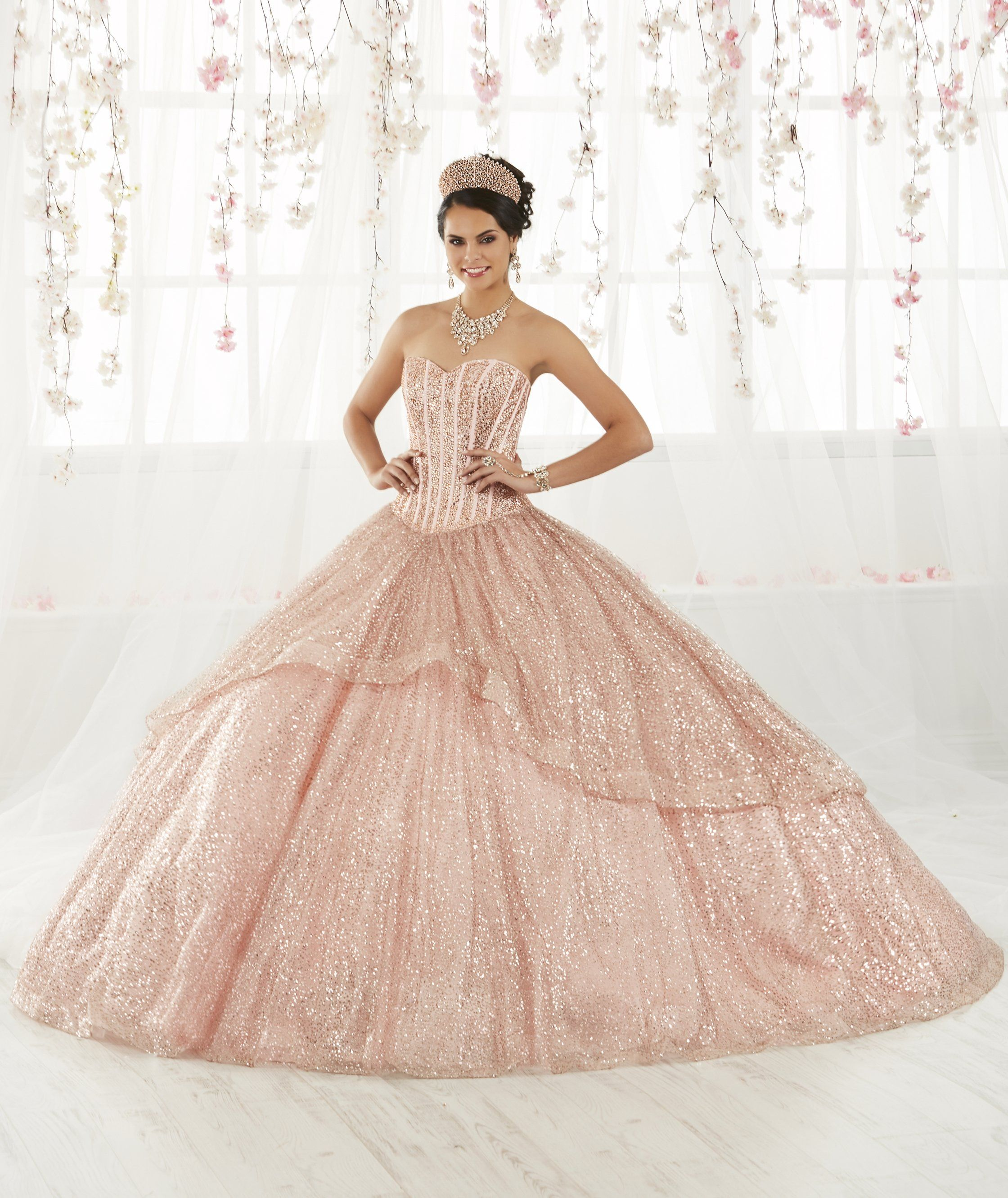 d84f8b5f970 Strapless Glitter Quinceanera Dress by House of Wu 26923 in 2019 ...