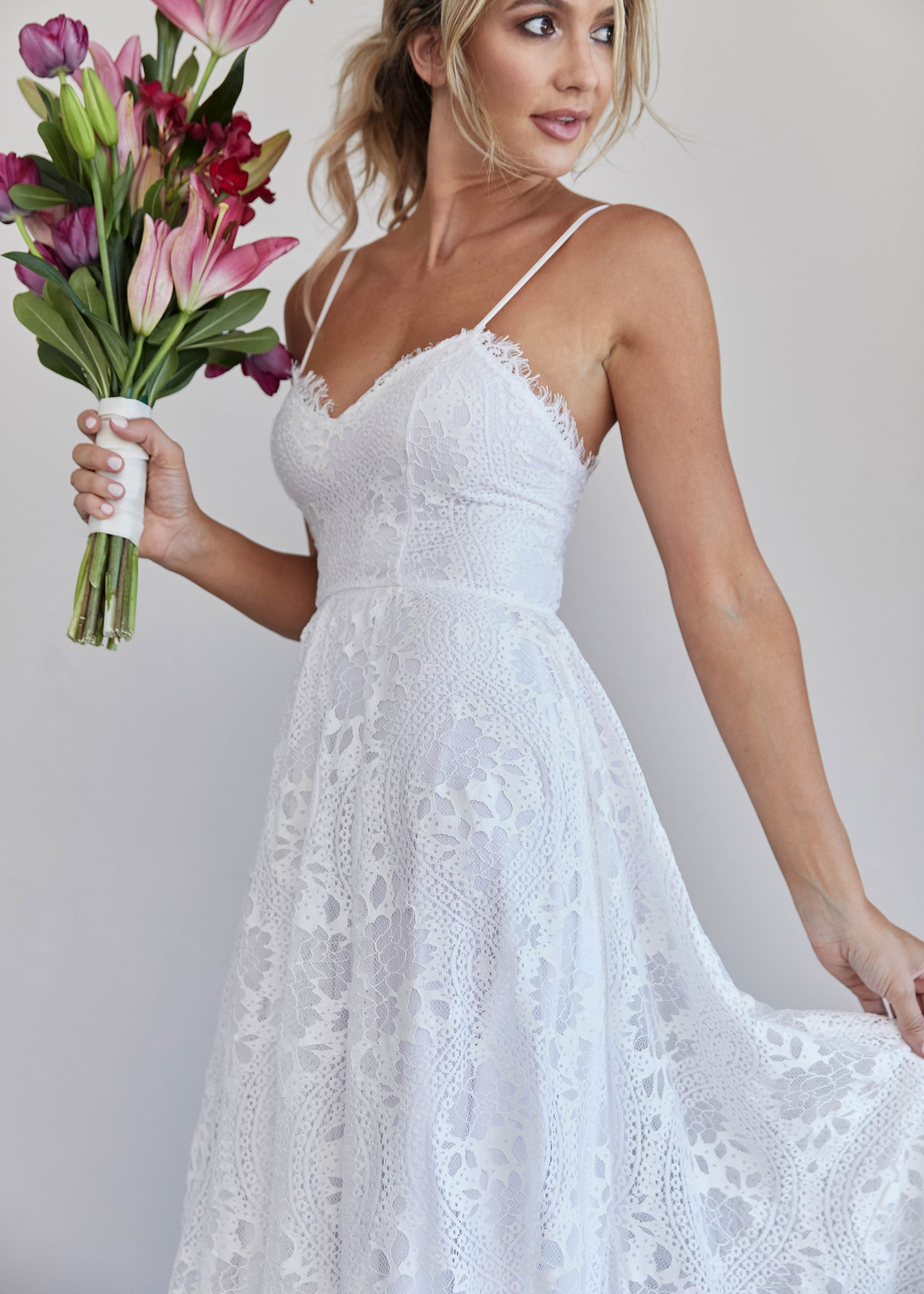 The Odette Dress with white lining.   Bohemian wedding
