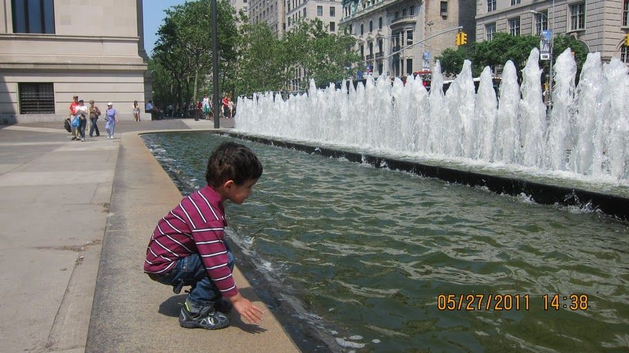 At the fountains outside the MET - NYC Favorite Places and Spaces