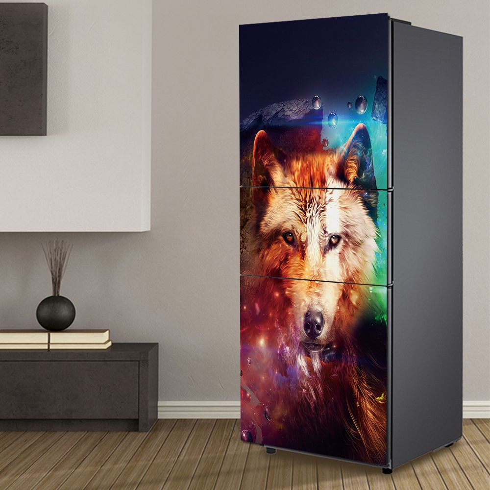 Yazi hd print wolf pvc self adhesive fridge wrap refurbished