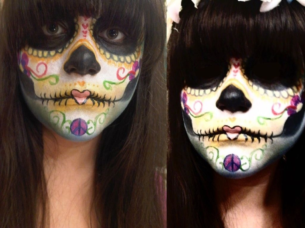 hippie inspired day of the dead face paint by greengal14deviantartcom on - Halloween Day Of The Dead Face Paint