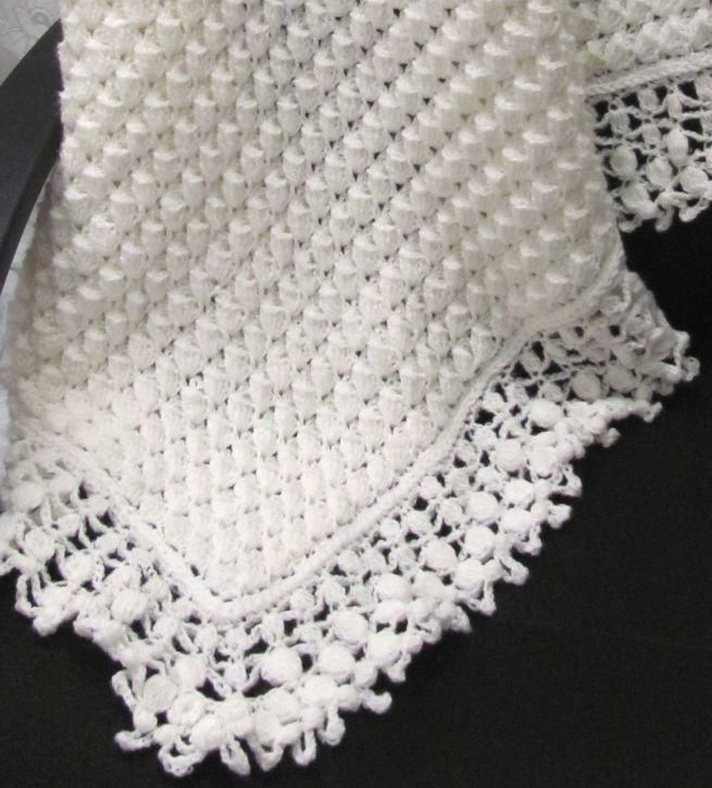 Mary Liz Cream Crochet Lace Baby Blanket Pattern by Susan D. Kerin ...