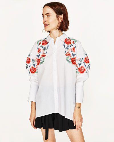 Zdjecie 2 Koszula Z Haftem W Kwiaty Z Zara Camisas Mujer Zara Camisas Mujer Bordados Florales