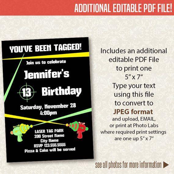 Laser Tag Party Invitation Printable Birthday Invitation Instant