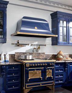 Royal Blue Kitchen Design Carved Wood Cabinets