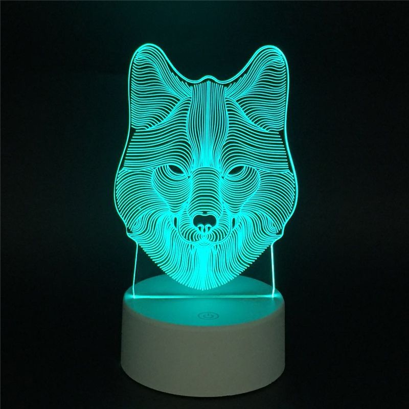 Wolf Head Totem Led 3d Nightlight Acrylic Night Lamp Light Luminary With Touch And Remote Lamps Ligh In 2020 3d Illusion Lamp Novelty Lighting Night Light