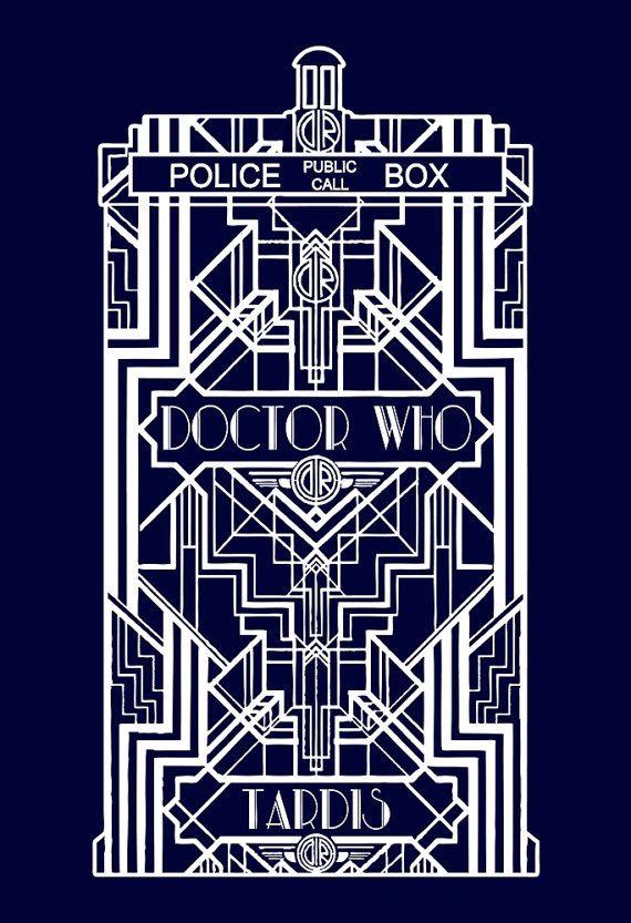 fead4e8b0a74d Tardis Doctor Who Dr. Who Art Deco Art Nouveau Vintage Custom Tshirt ...
