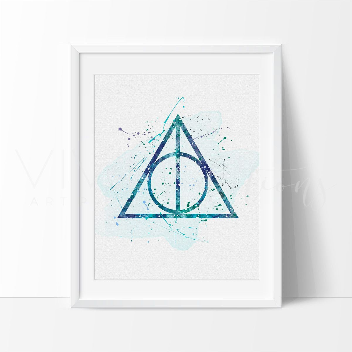 The Deathly Hallows, Harry Potter Watercolor Art Print | Harry ...