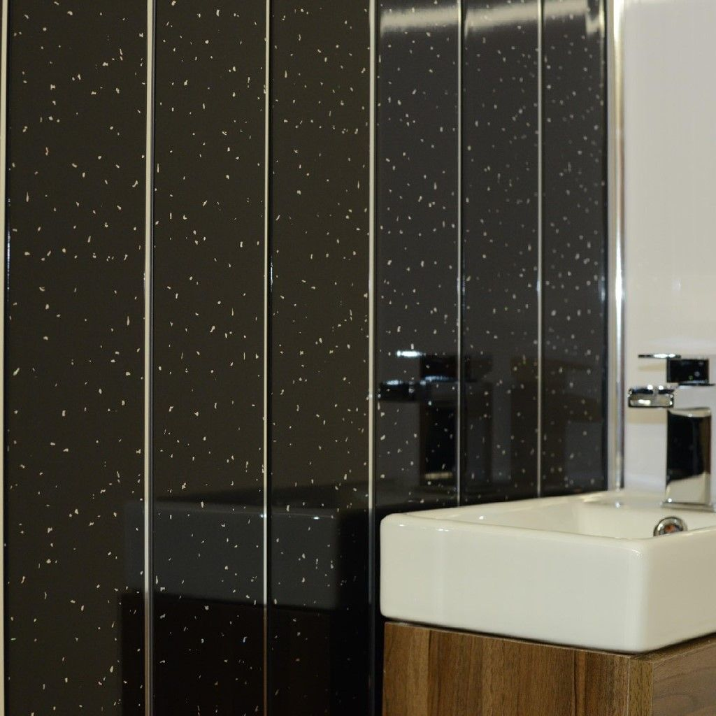 Black Panels Cladding Pvc For Bathroom Shower Wall Ceiling Sparkle Diamond And Chrome Strips 100 Waterproof By