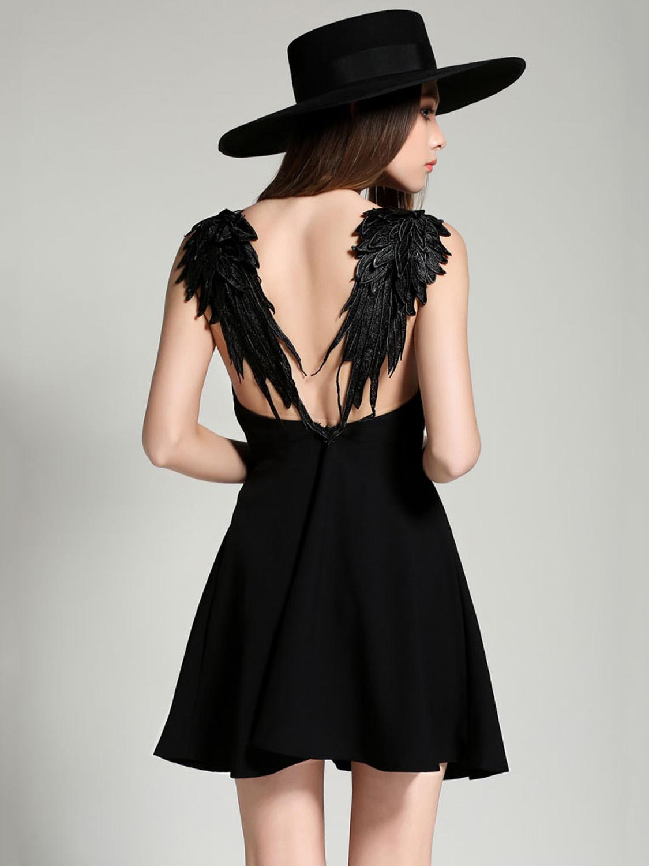 V neck black lace dress  Black Vneck Wing Detail Open Back Skater Dress  Choies
