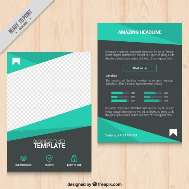 geometric green business flyer vector free download poster