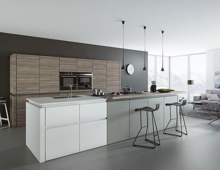 cucina bianca e grigia in stile moderno | INTERNI - Cucina ...