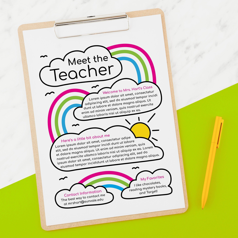 Rainbow Clouds Meet The Teacher Flyer
