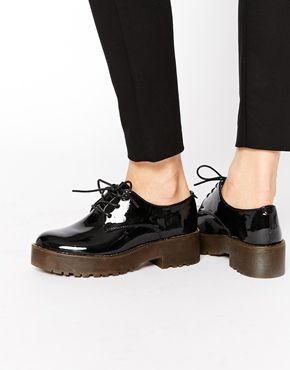 56f13830 Zapatos de charol negro con plataforma plana de Glamorous | calsados ...