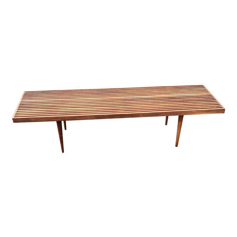 Mel Smilow Walnut Long Slat Bench Coffee Table 60 Wide Mid Century Modern Brooklyn Coffee Table Midcentury Modern Table Furniture