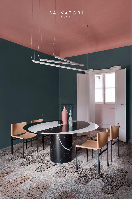 Wandfarbe Grün Mit Decke Gestrichen In Rosa. Esszimmer Modern Einrichten  Wohnideen