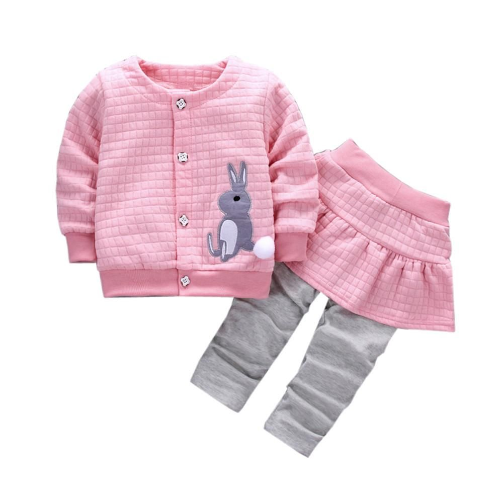 2017 Autumn baby girls infants cotton Rabbit print jacket coats + skirts  pants 2pcs Kids clothes sets sports suits 3 colors 6d5819482