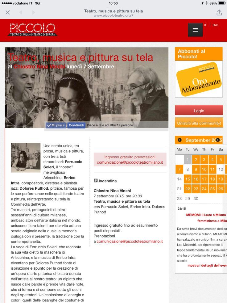 #DoloresPuthod #FerruccioSoleri #Enrico Intra  #TeatroAllaScala #PiccoloTeatro #PremioArlex #Jazz #Cinema