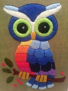 Vintage Embroidered Owl.   Bordado de búho, Bordado mexicano