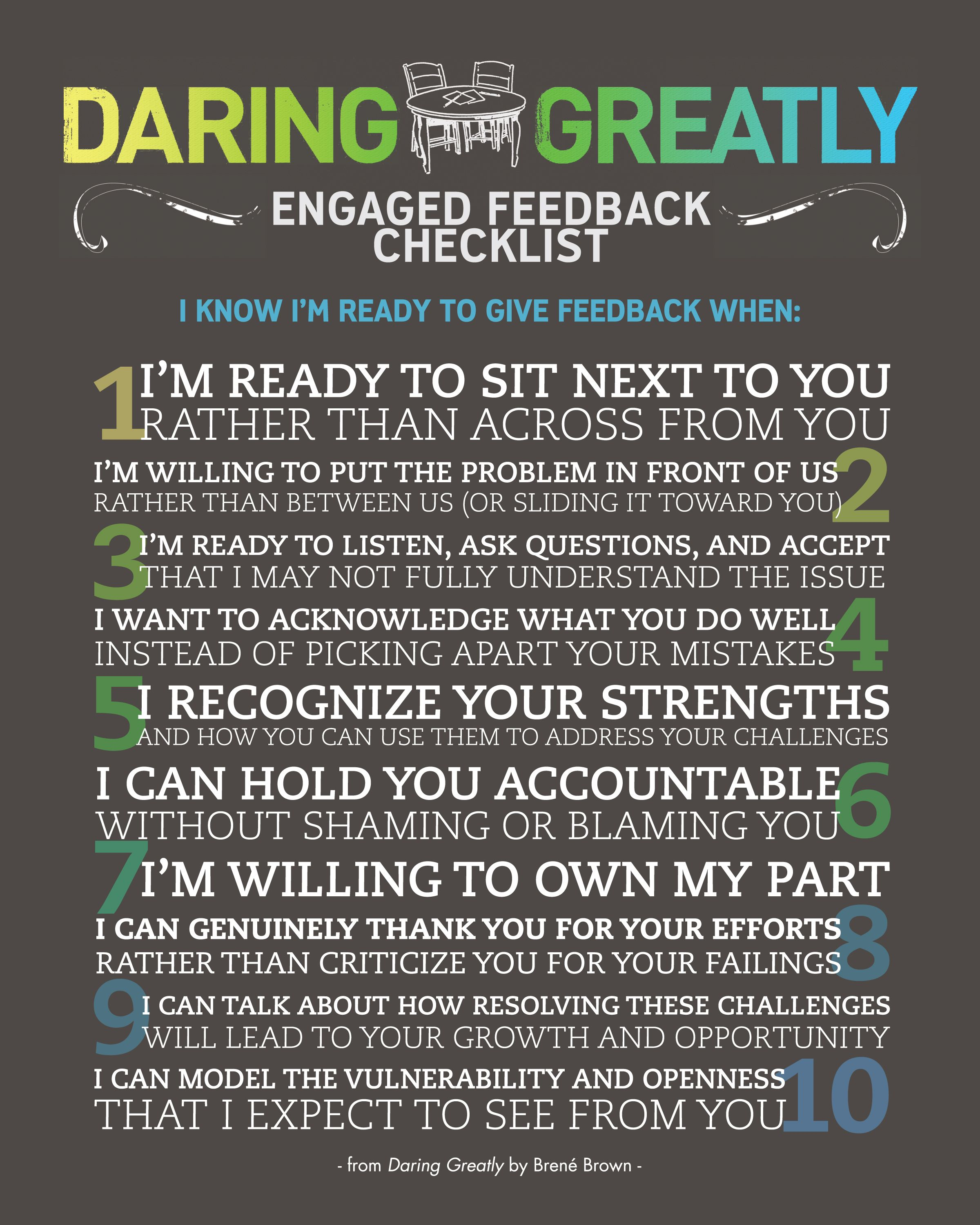 Daring Greatly Engagement Checklist