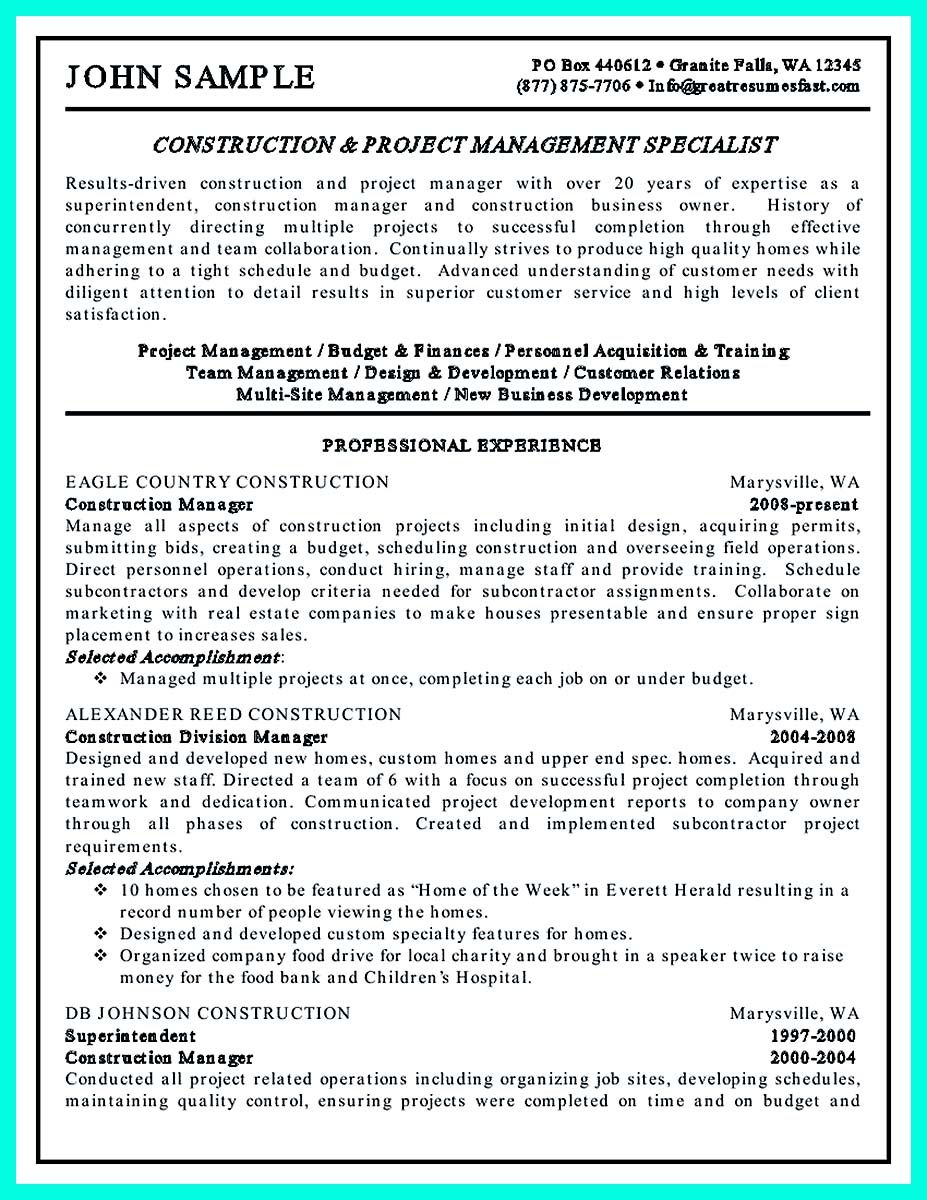 Resume For Project Manager Awesome Perfect Construction Manager Resume To Get Approved Check