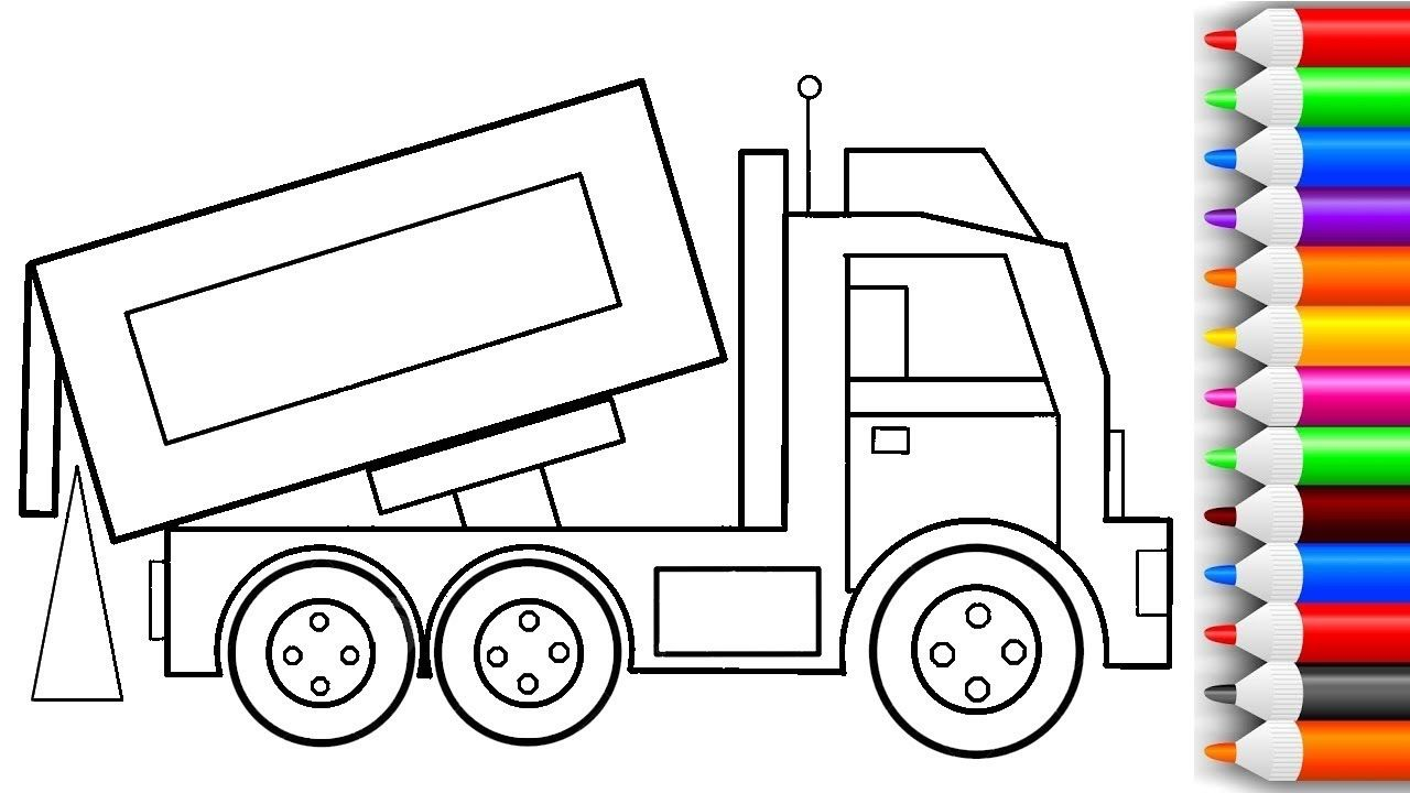 Learn Colors for Kids with Construction Truck Coloring Page ...