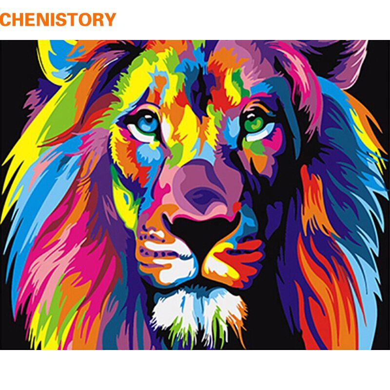 rahmenlose bunte löwe tiere abstrakte malerei diy digitale