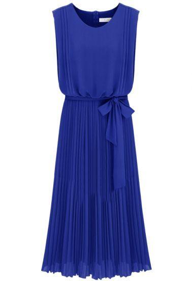 Blue Sleeveless Back Zipper Belt Pleated Dress pictures