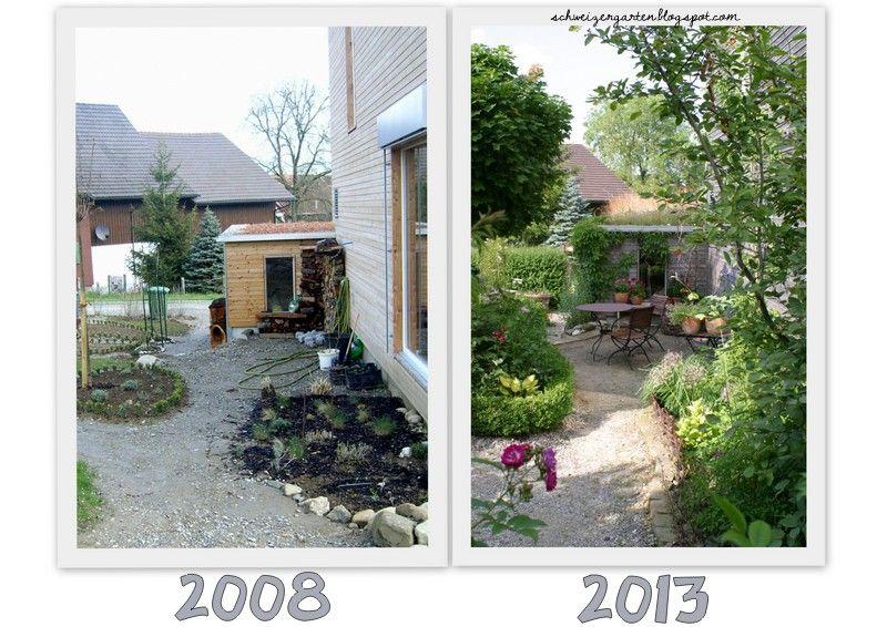Garden before - after 5 Years, zeigt her eure Gärten - Ein Schweizer - reihenhausgarten vorher nachher