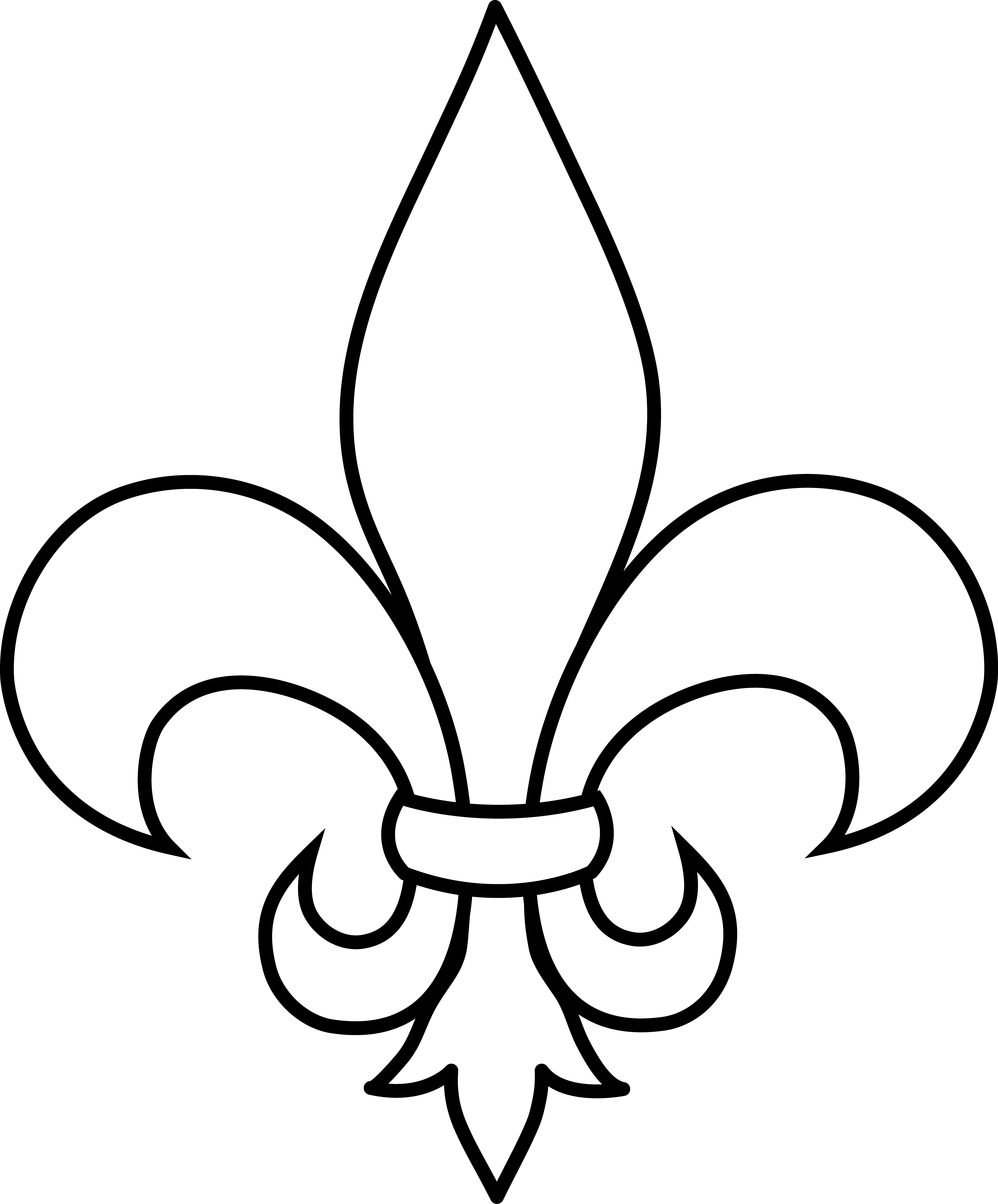 frrench free clip art black and white fleur de lis outline free clip art [ 4509 x 5438 Pixel ]