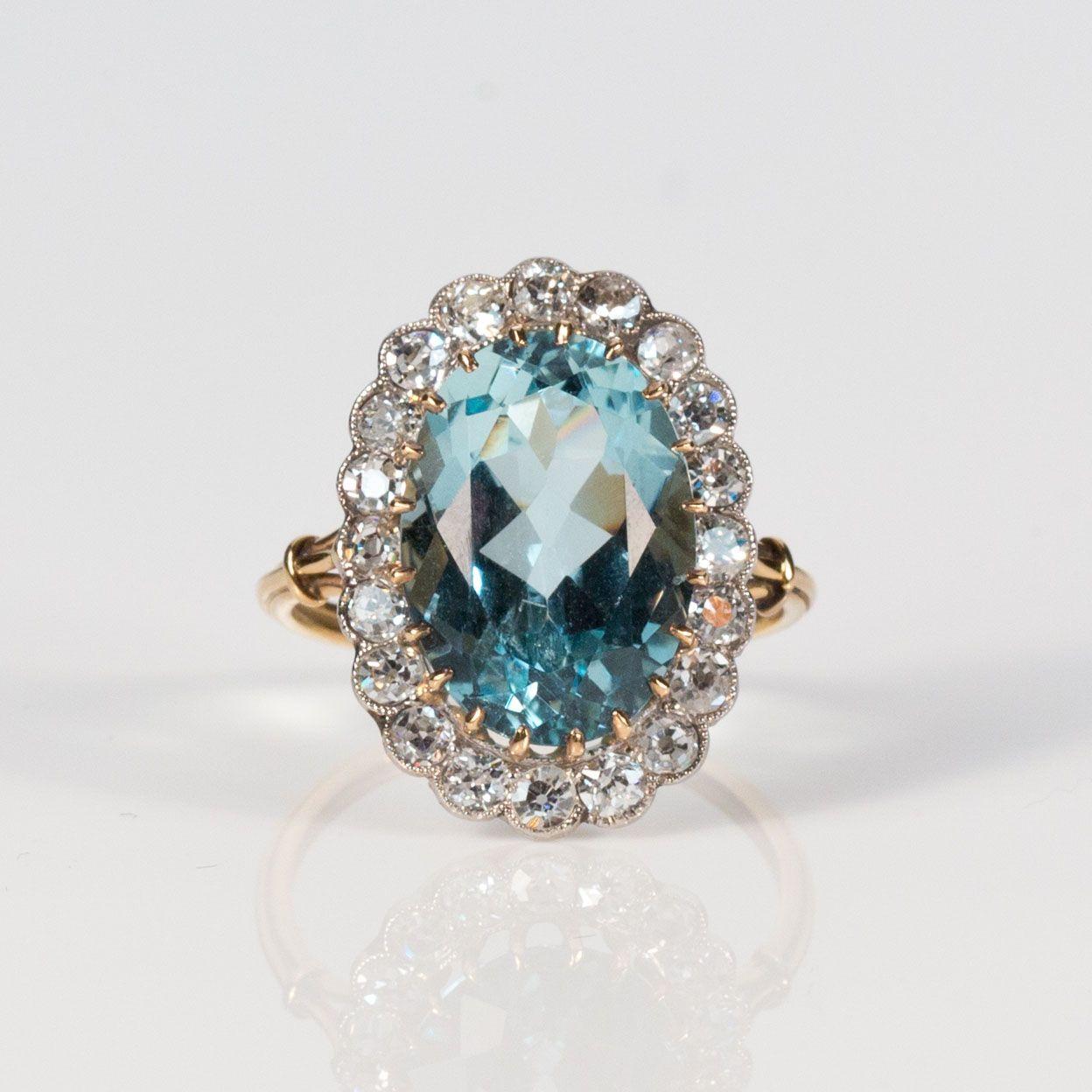 Antique 18K Gold Aquamarine and Old Mine Cut Diamond Ring   Keils ...