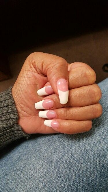 Pink And White Gel Nails With Coffin Shape White Gel Nails French Tip Nails White Tip Nails