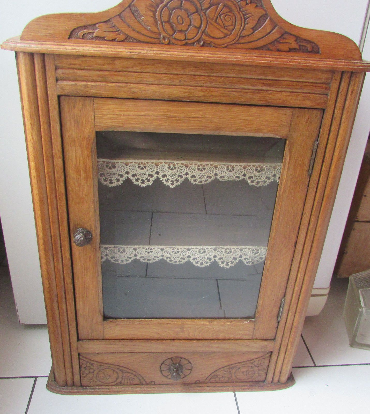 Ancienne Armoire De Toilette Pharmacie En Bois Eur 50 00
