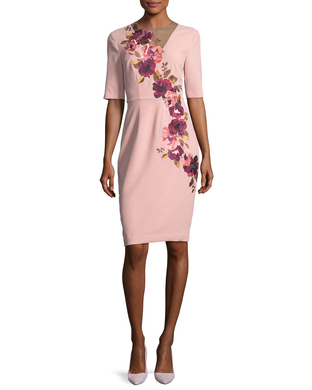 Floral-Embroidered 3/4-Sleeve Sheath Dress, Blush | Pinterest