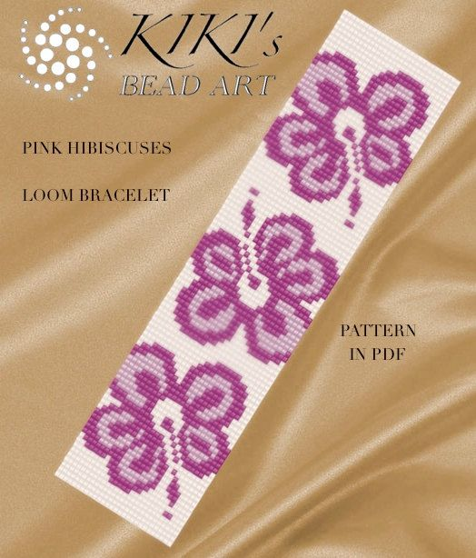 Bead loom pattern - Pink hibiscuses colourful LOOM bracelet cuff pattern in PDF  instant download