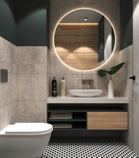 Große Fliese an den Wänden. Waschbecken / Lagerung effizient in die Ecke gedrückt; keine Beine zu bekommen … - Reinigen 2019 #badeværelseinspiration
