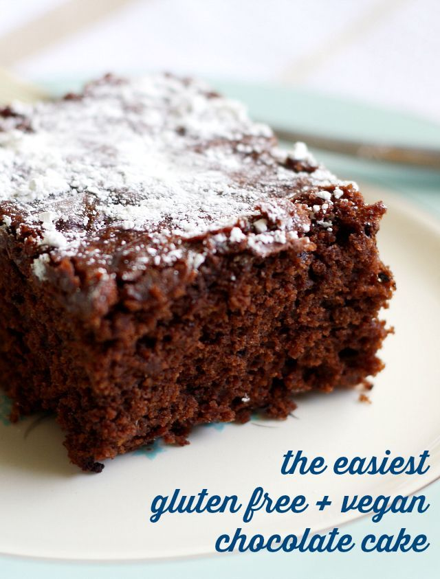 Easiest Gluten Free and Vegan Chocolate Cake An easy recipe for vegan and gluten free chocolate cake that is moist, rich, chocolatey, and delicious.An easy recipe for vegan and gluten free chocolate cake that is moist, rich, chocolatey, and delicious.