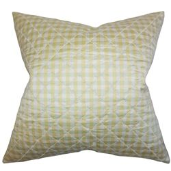 "This toss pillow offer comfort and support to your sofa, bed or accent chair. This throw pillow is adorned with a classic plaid pattern in shades of white and gold. Make your living room or bedroom a place for relaxation. Constructed with 100% high-quality silk material, this 18"" pillow is made to last for a long time. $55.00 #throwpillow #homedecor #interiorstyling #gold"