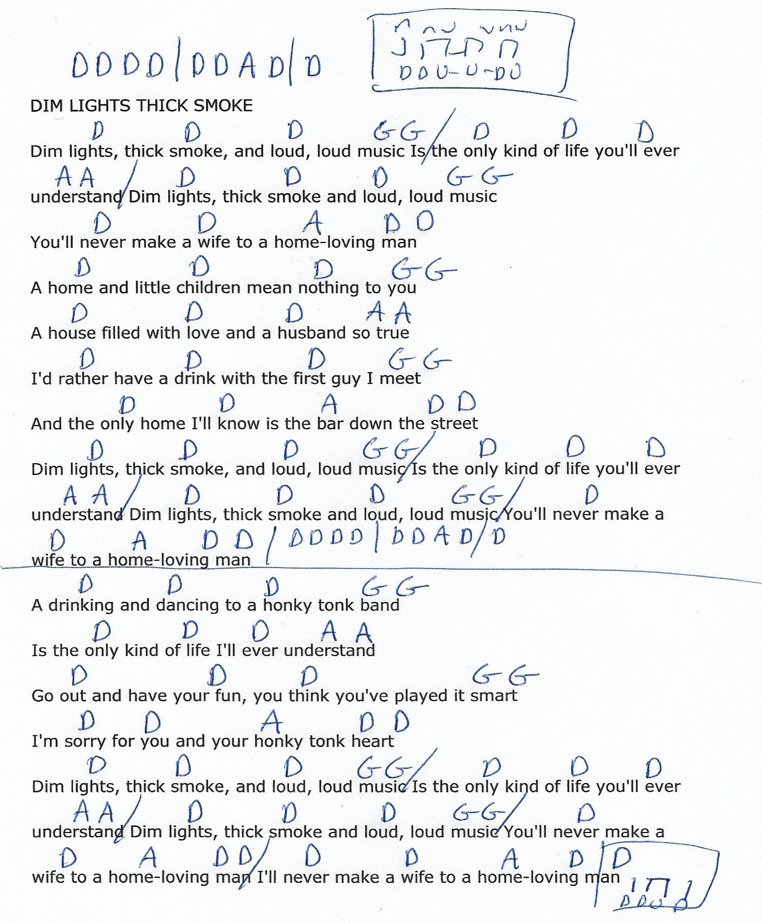 Dim Lights Thick Smoke John Prine Guitar Chord Chart In D Real