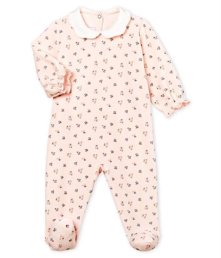 Dors bien bébé fille en velours rose Fleur   blanc Multico - Petit Bateau f0ea65583af