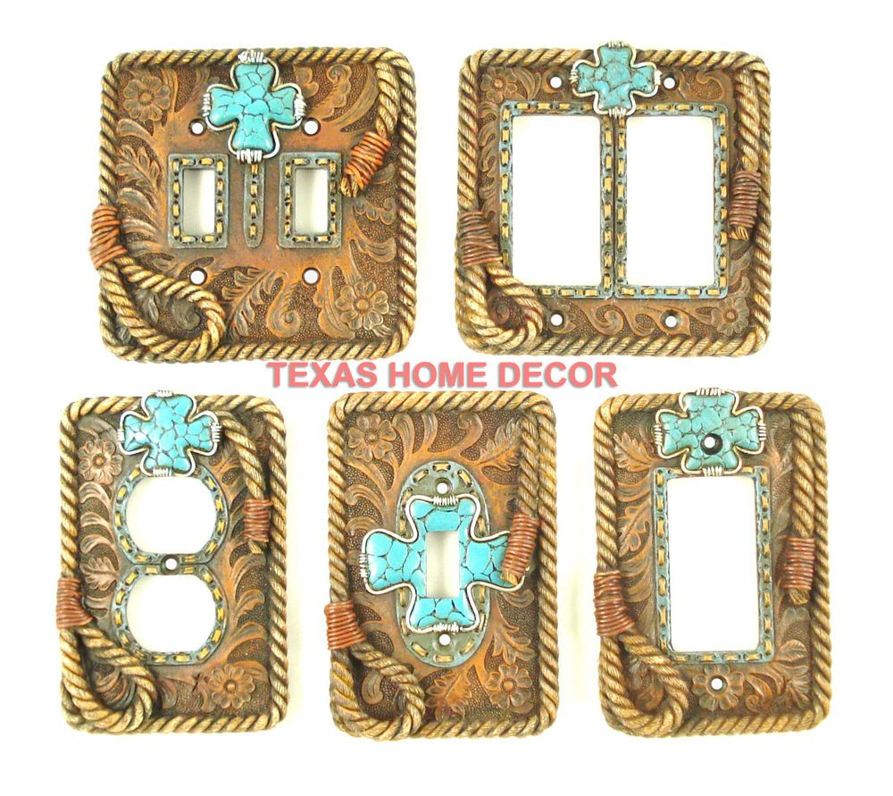 Rustic Light Switch Covers Western Rustic Switch Plate Covers Turquoise Cross Floral Tooled