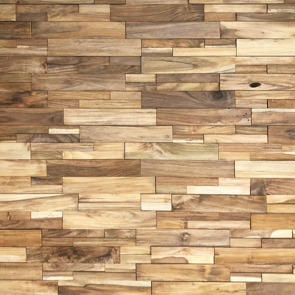 Realstone Systems Reclaimed Wood 1 2 In X 24 In X 12 In Natural Teak Wood Wall Panel 10 Box Rwp Nat The Home Depot In 2020 Reclaimed Wood Paneling Natural Teak Wood Wood Paneling