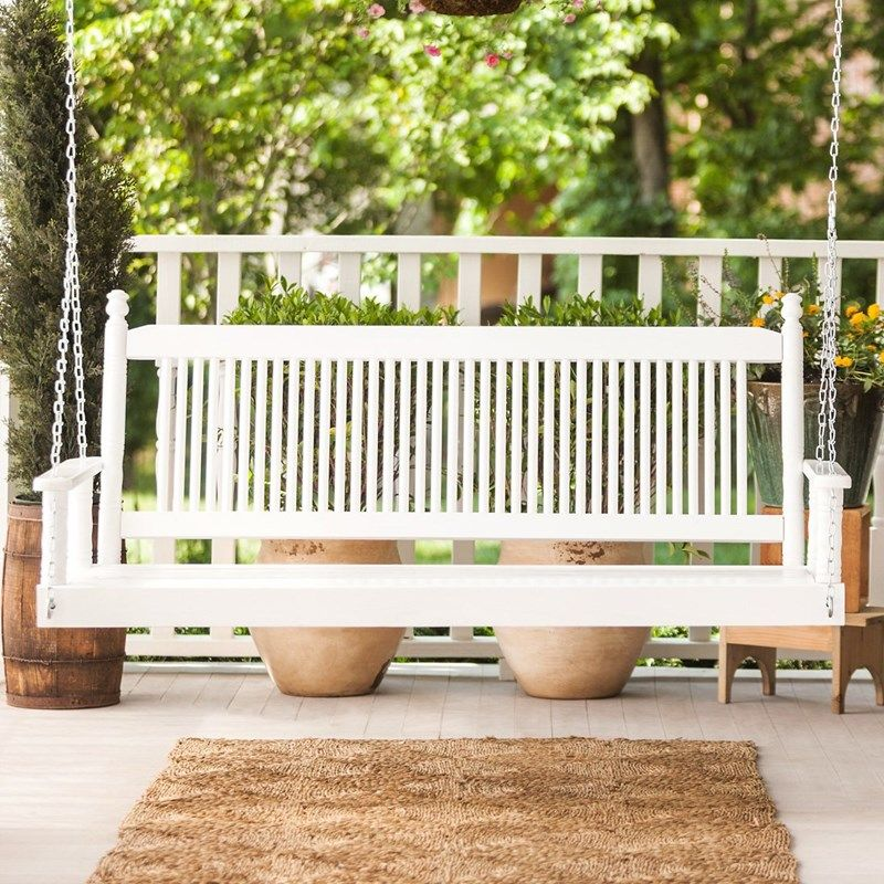 5 Porch Swing White Porch Swing Outdoor Furniture Home Furniture